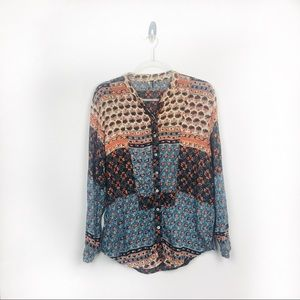 Free People Boho Floral Button Down Blouse S